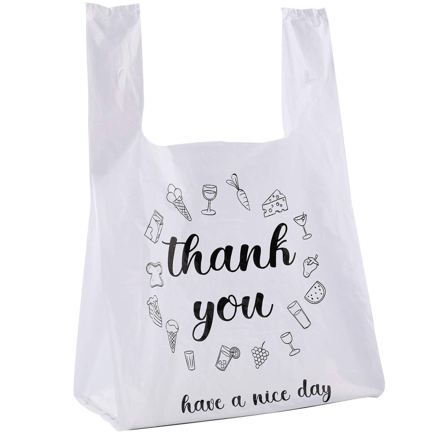 Carry-Out T-Shirt Bag 500 Pack Thank You Plastic Bags 15x7x26 Reusable bags.