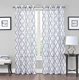 GoodGram 2 Pack: Kendall Luxurious Trellis Crushed Grommet Sheer Voile Curtains by Assorted Colors (Charcoal) For Sale