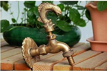 Wffmx Grifo Exterior Decorativo Con Forma De Animal Rural Grifo De Jardín Con Bronce Antiguo Grifo De Pescado Para Lavar El Jardín: Amazon.es: Bricolaje y herramientas