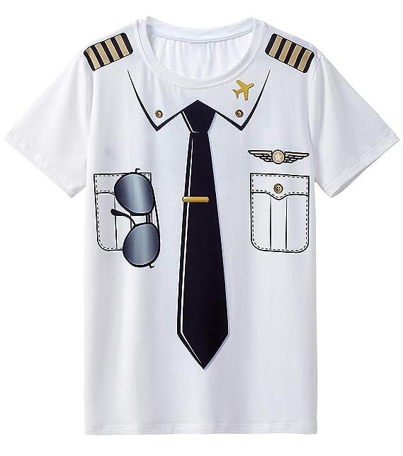 a83fe2a52ab98 COSAVOROCK Camisetas Disfraz de Piloto para Hombre  Amazon.es  Ropa y  accesorios