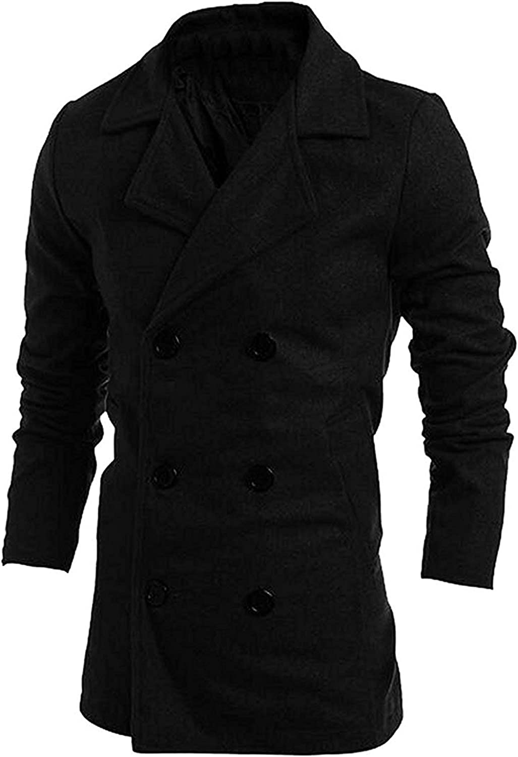 LOKOUO Mens Trendy Turn Down Collar Coat Double Breasted Trench Coat
