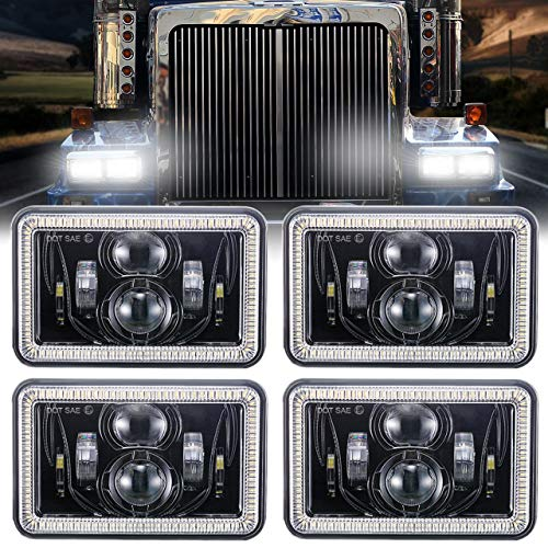 4 PCS 4x6 Inch LED Headlights 60W Halo DRL Turn Singal Rectangular Replacement H4651 H4652 H4656 H4666 H6545 for Peterbilt Kenworth Freightinger Ford Probe Chevrolet Oldsmobile Cutlass (Halo 4 Pc)