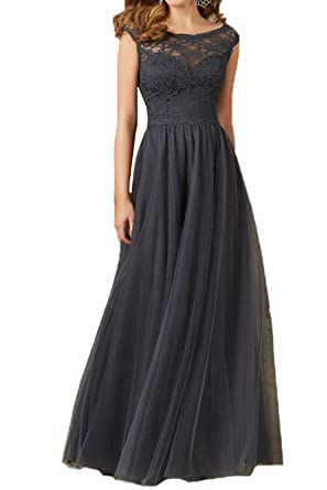 Honey Qiao Scoop Sleeveless Prom Dresses Navy Long Lace Tulle Evening Praty Gown
