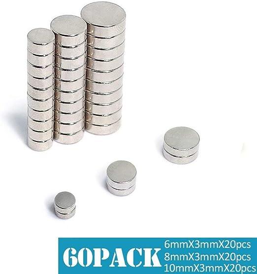 20 unidades N35-20 12 mm di/ámetro x 1 mm de grosor N35 im/án de neodimio con 0,6 kg tirador first4magnets F308