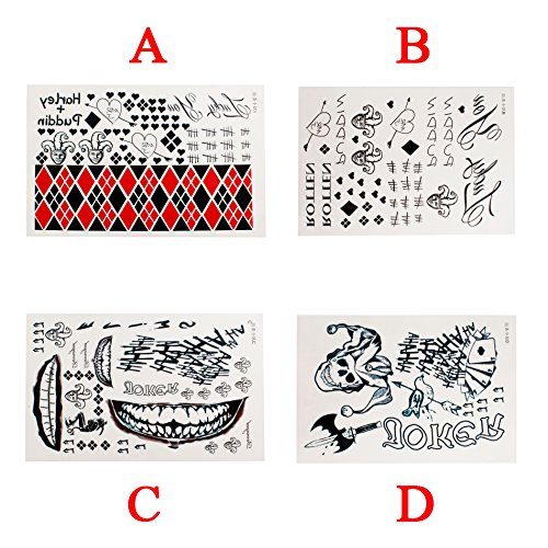 OLSUS Waterproof Halloween Full Body Joker Stickers Decal Cosplay Party Temporary Tattoos, A+B+C+D for $<!--$10.99-->