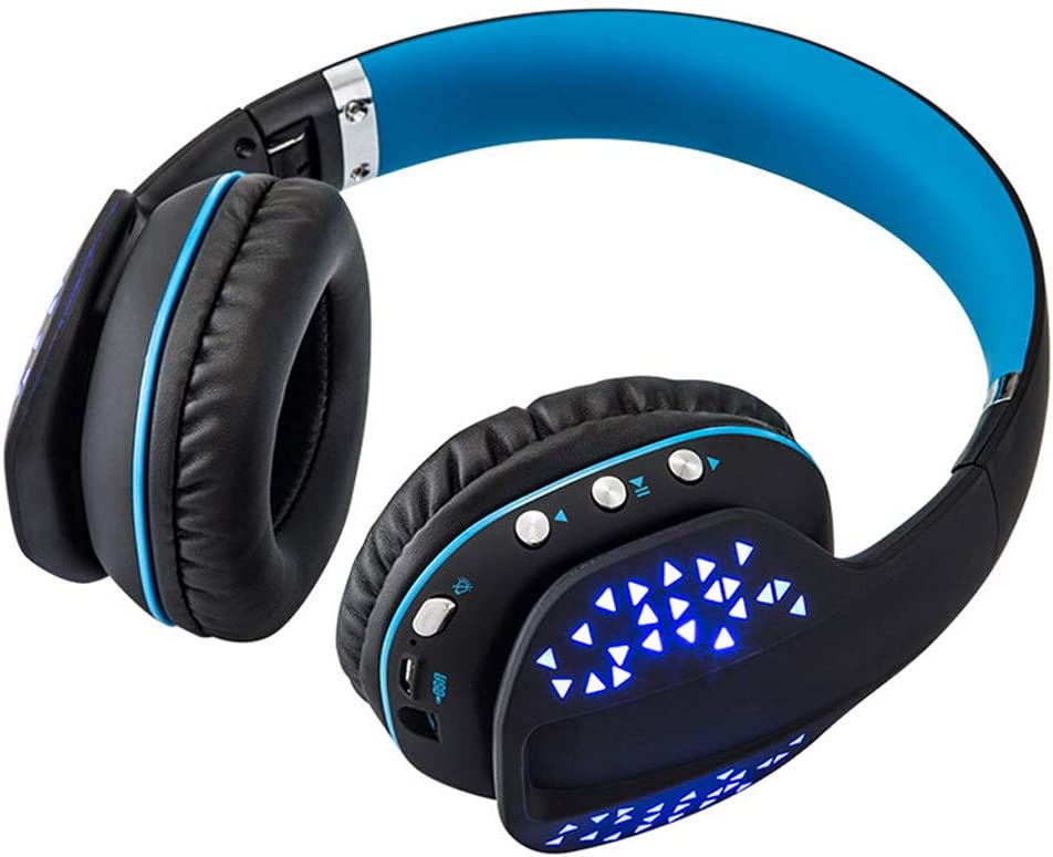 Red PC Color : Blue Folding Headset Phone Tablet Game Music Sports Headphones HUANGDA Gaming Headset Headset Bluetooth Headset Blue