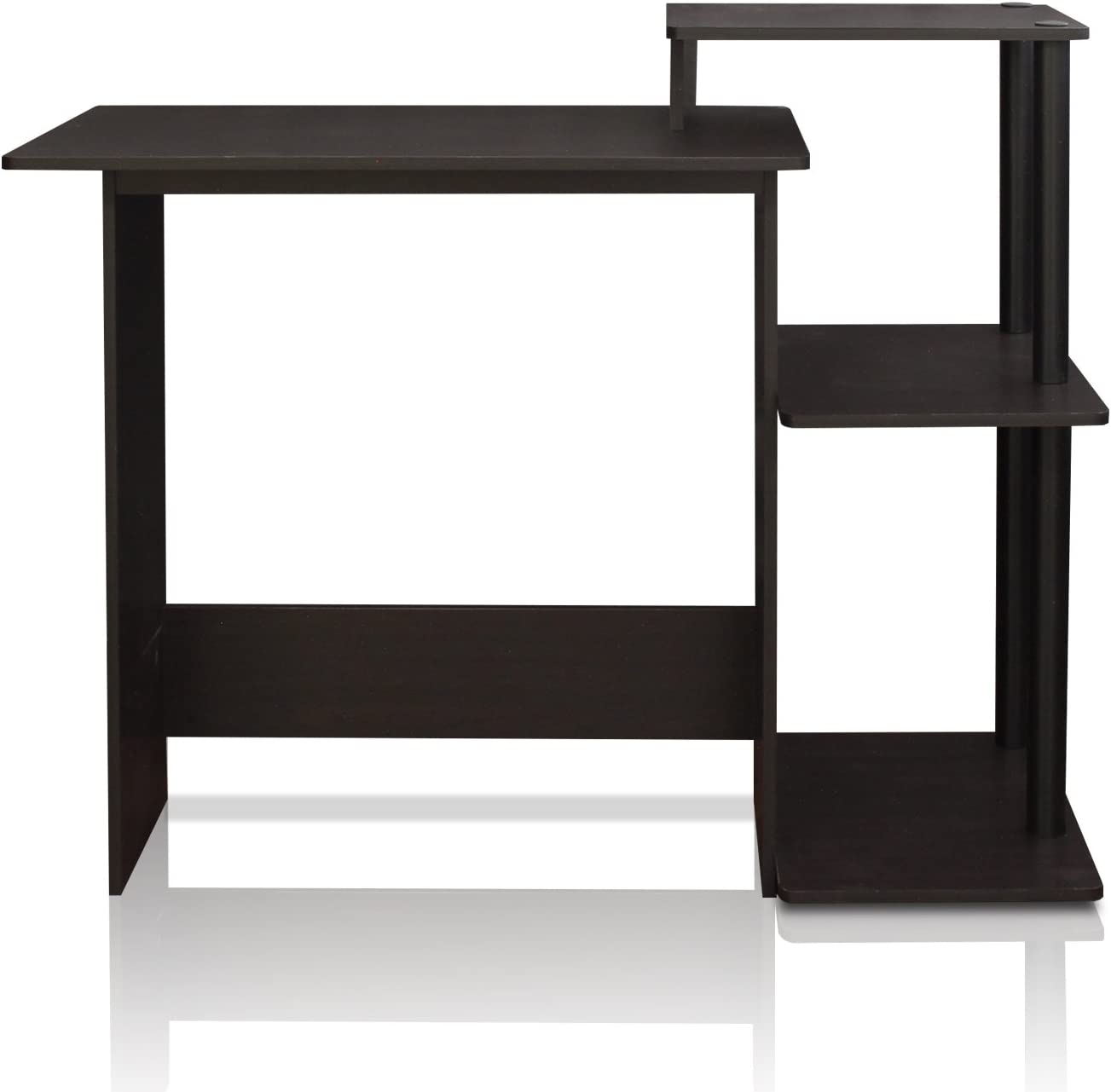 FURINNO Efficient Home Laptop Notebook Computer Desk, Square Side Shelves, Espresso/Black: Furniture & Decor