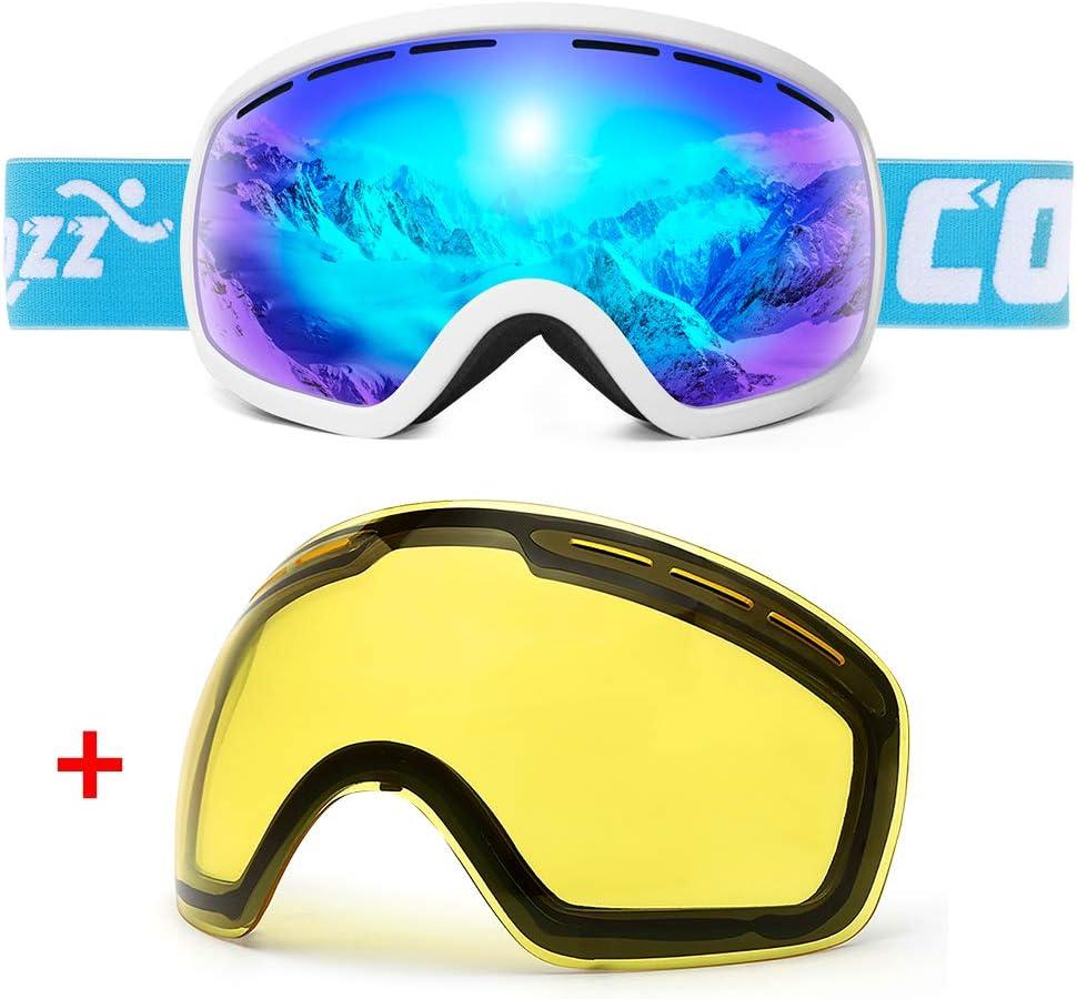 COPOZZ スキーゴーグル G1 OTG スノーボード スノーゴーグル メンズ レディース ユース 曇り止め UV保護 偏光レンズ G5 Ski Goggles 白い Frame/青 Lens (VLT 24,5%) + 黄 lens