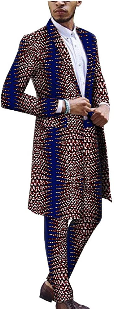 African Men Clothing One Button Slim Fit Suit Print Long Jacket Coats+Pants Set Dashiki Outfit