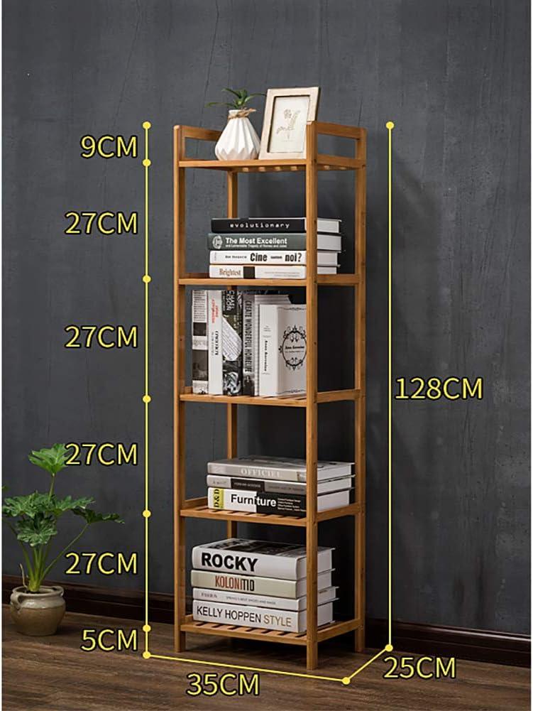 Bambú 5 nivel Biblioteca, Estante de exhibición del estante Estantería decorativa Estrecha Soporte de exhibición de la biblioteca Alto Multiusos Para ...