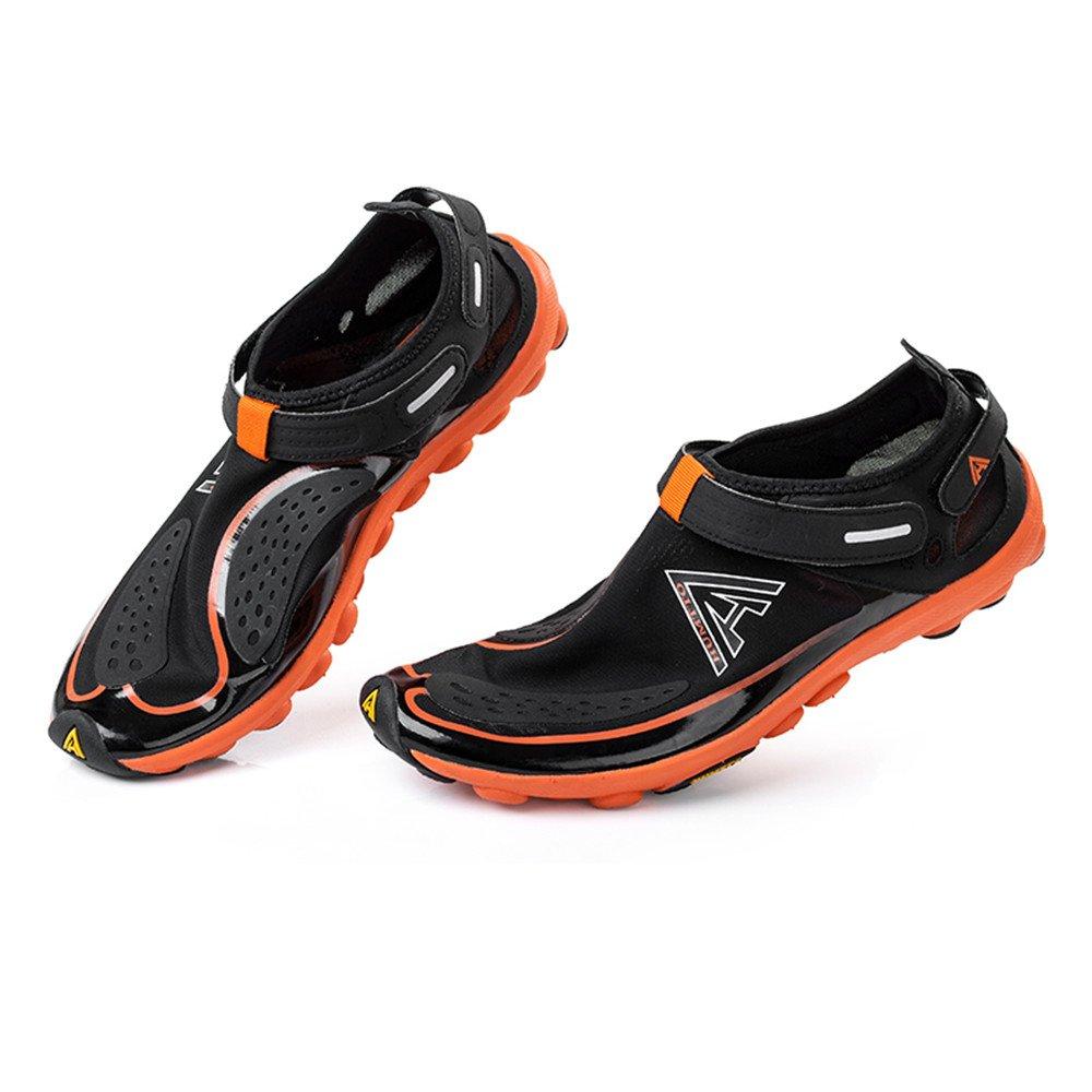 YIZER Water Shoes, Men Women Super Lightweight Breathable Mesh Aqua Shoes for Swim Walking Lake Beach Boating (9.5 US Women/8 US Men, Black Orange)
