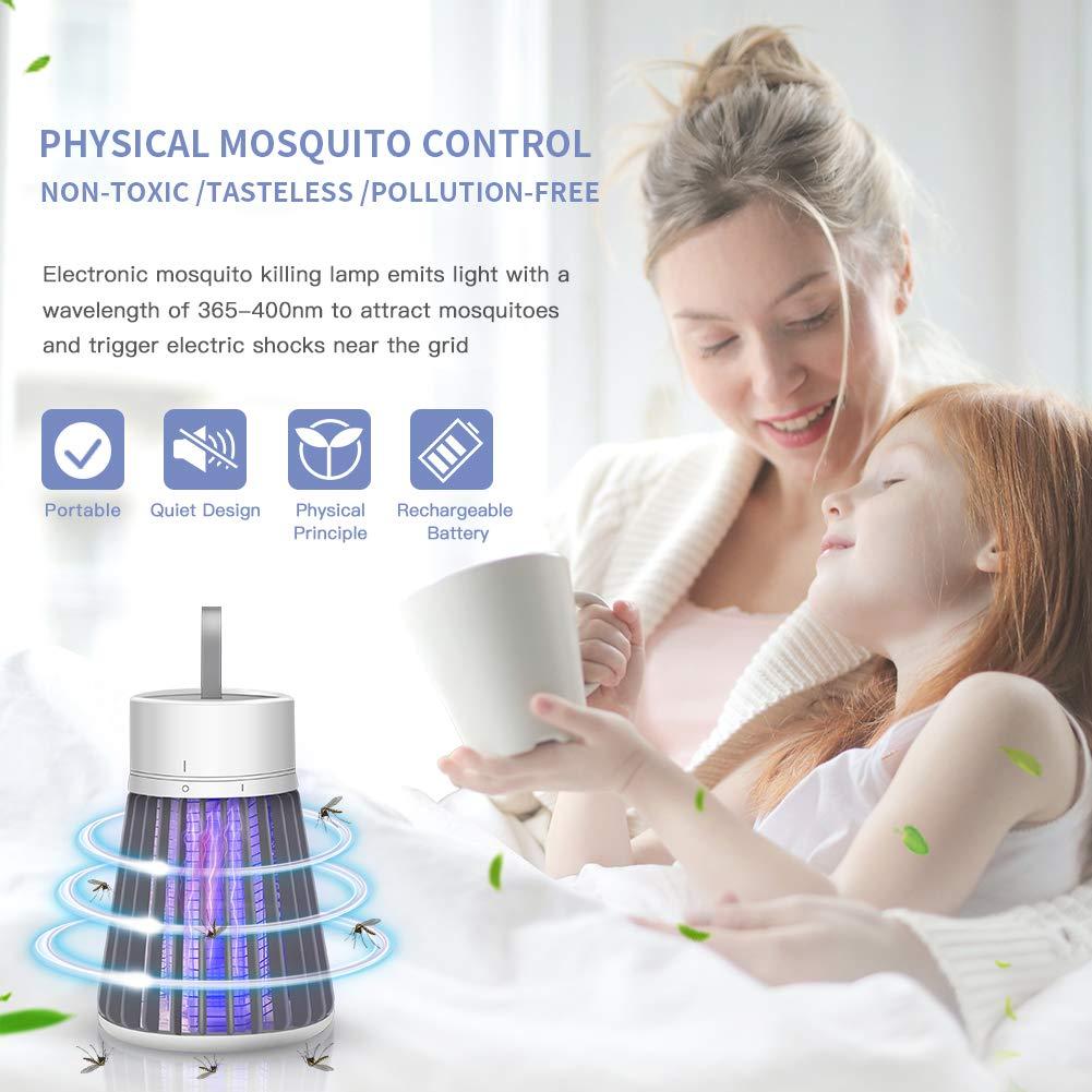 Blanco Mute Electronic Bug Zapper UV Insect Fly Trap Lamp L/ámpara Port/átil USB Recargable Fly Zapper Light para Interior al Aire Libre con Bater/ía Incorporada ROTEK Mosquito Killer Lamp