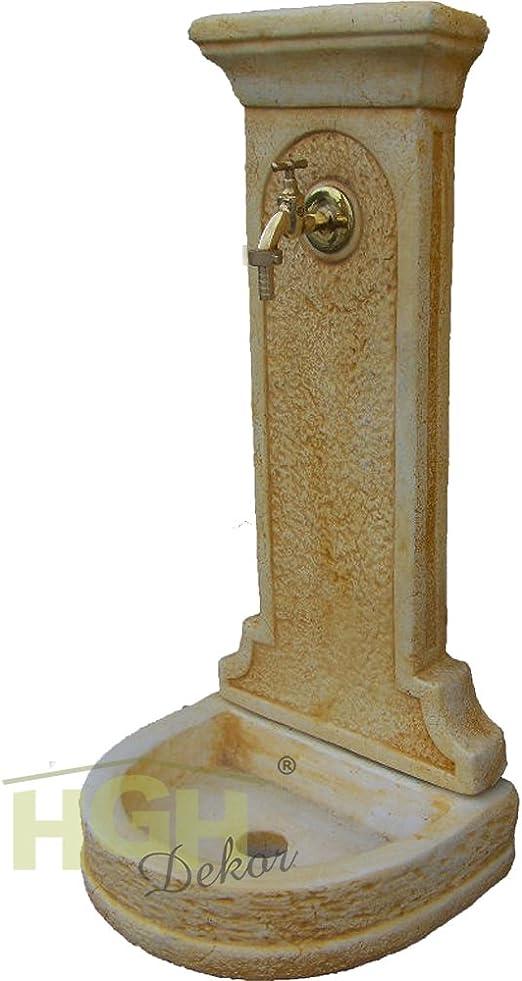 Fuente de pared Florenz I, con pila, para la pared, con grifo y figura de piedra, decoración para el jardín, surtidor, ocker patiniert: Amazon.es: Jardín