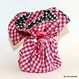 Black and Pink Gingham Fabric Jewelry Organizer, Bell Art Designs JBMD0131