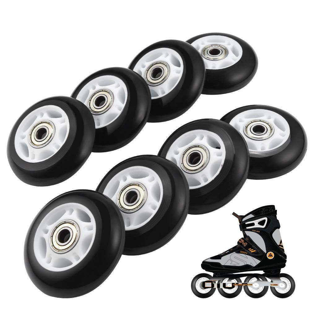 RUNACC Inline Roller Skate Wheels 82A 70mm Premium Replacement Rollerblade Wheels with Bearings (Blue- Set of 8) (82A-Blue-8pcs) (85A-8pcs-Black)