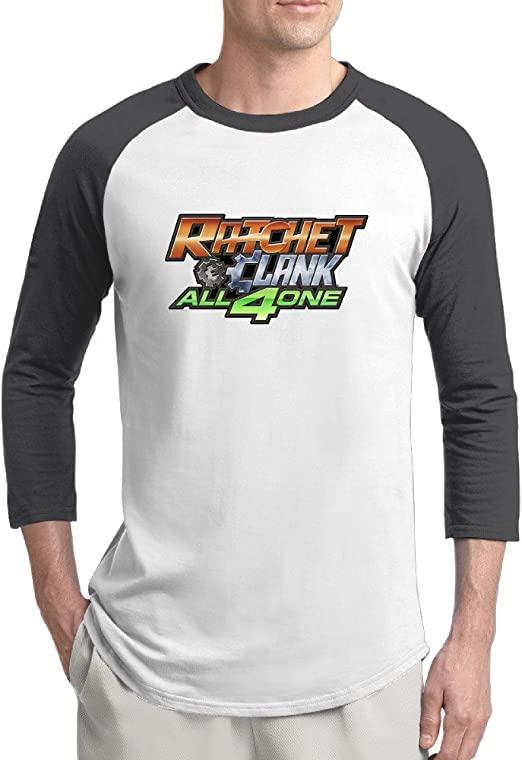 Ratchet And Clank All 4 One Logo Mens Art 100 Cotton 3 4 Sleeve Athletic Baseball Raglan Sleeves T Shirt Amazon Com