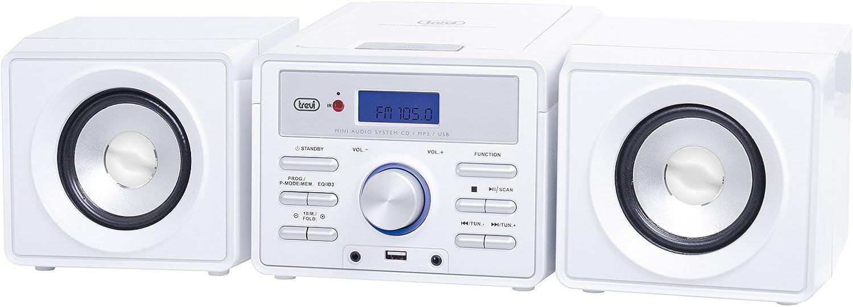 Trevi HCX 1030 S HiFi CD Player Blanco - Unidad de CD (MP3, 10 W, FM, HiFi CD Player, Blanco, CD)