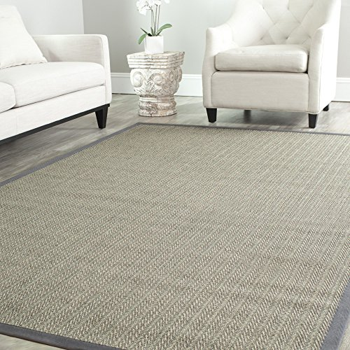 Safavieh Natural Fiber Collection NF444A Herringbone Grey Brown and Grey Sisal Square Area Rug (6' Square)