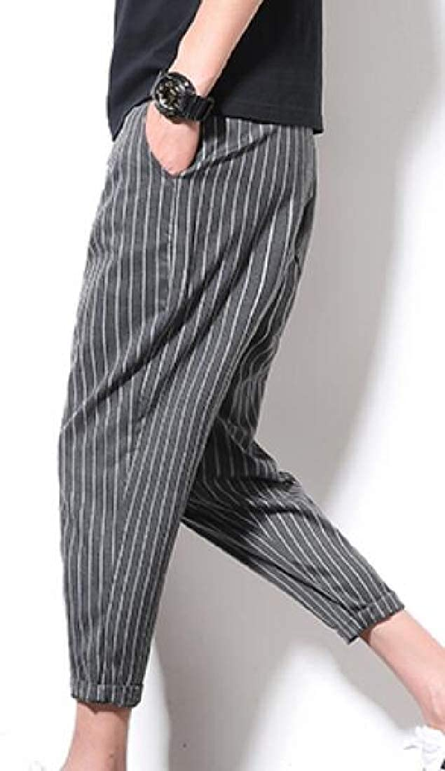 Men Drawstring Waist Stripe Skinny Pencil Pants Harem Pants
