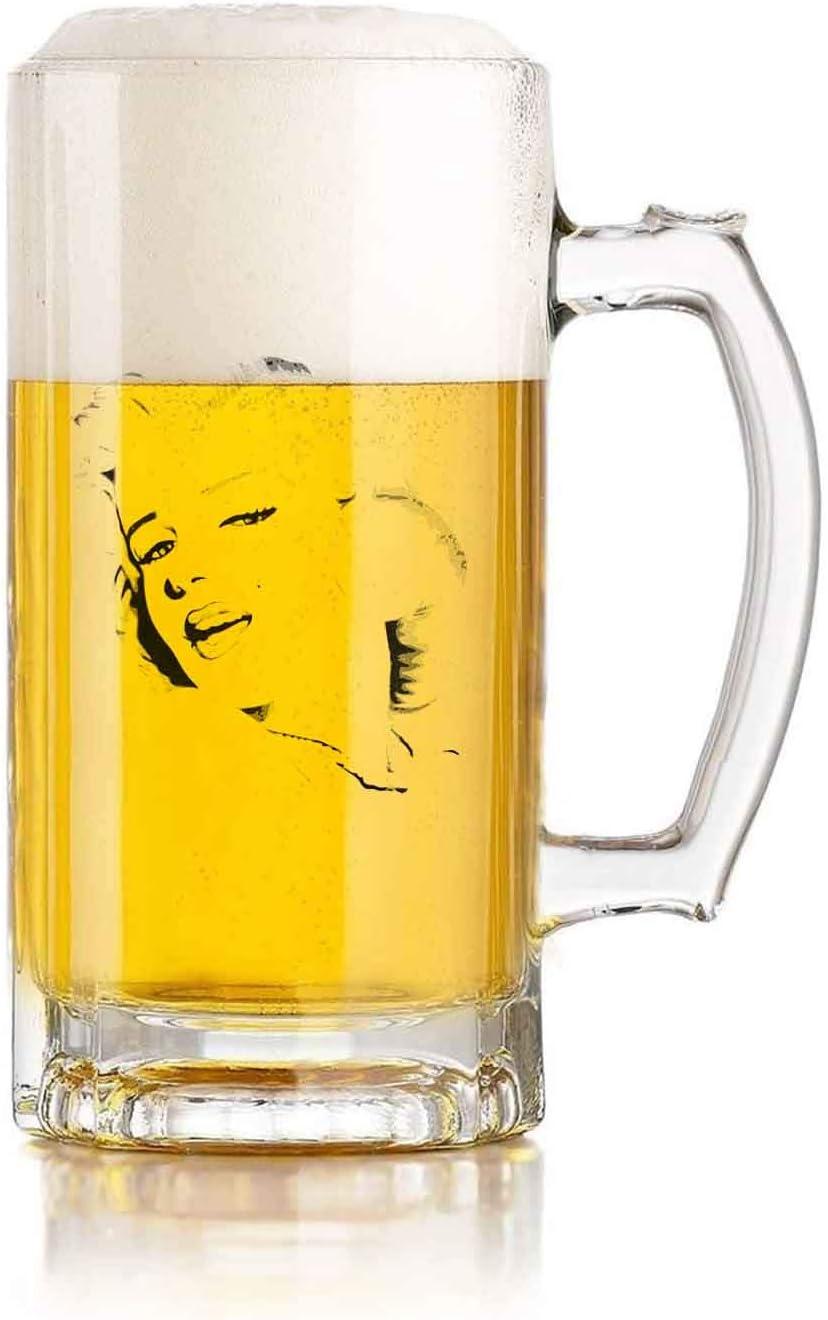 Jarra de cerveza de vidrio con asa Marilyn Monroe Sketch Heat Exchange Resistente a caídas y duradera