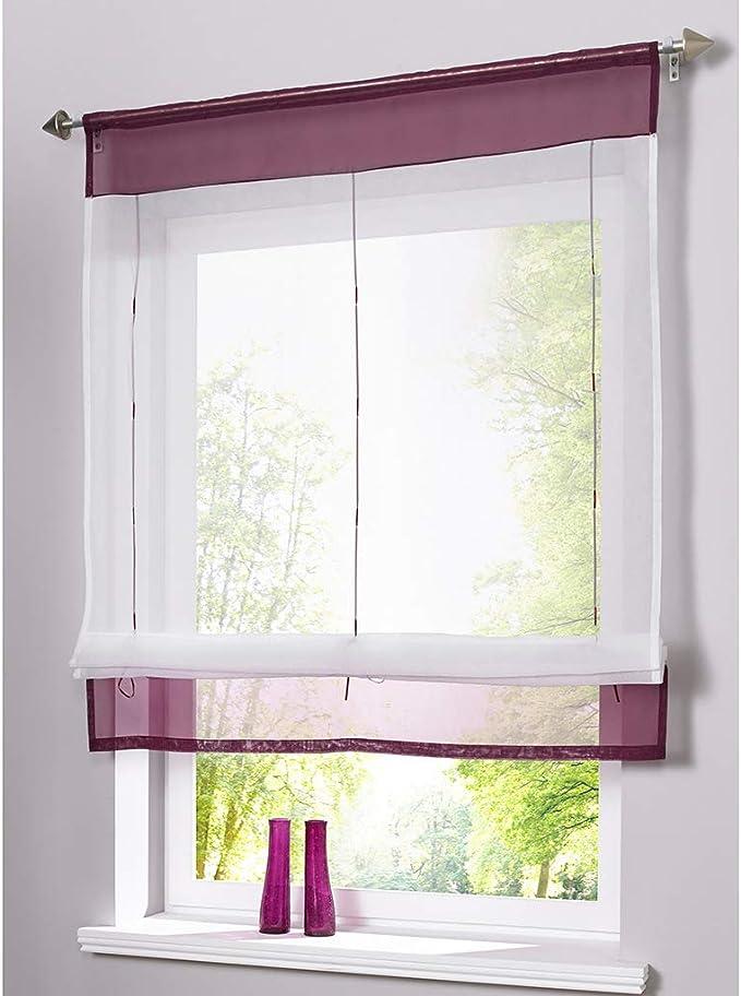 SIMPVALE - Cortina Visillos Transparente para Ventana de Cocina, Baño, Balcón, 1 Unidad, Púrpura, 100x140cm: Amazon.es: Hogar