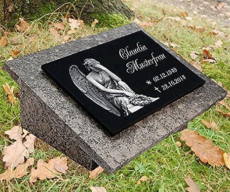 Nagrobki Grabstein Gedenkstein Urnengrabstei Schiefer Grabplatte Gravur Mensch 30 x 15 cm