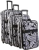 Paisley Print 3 Piece Expandable Luggage Set