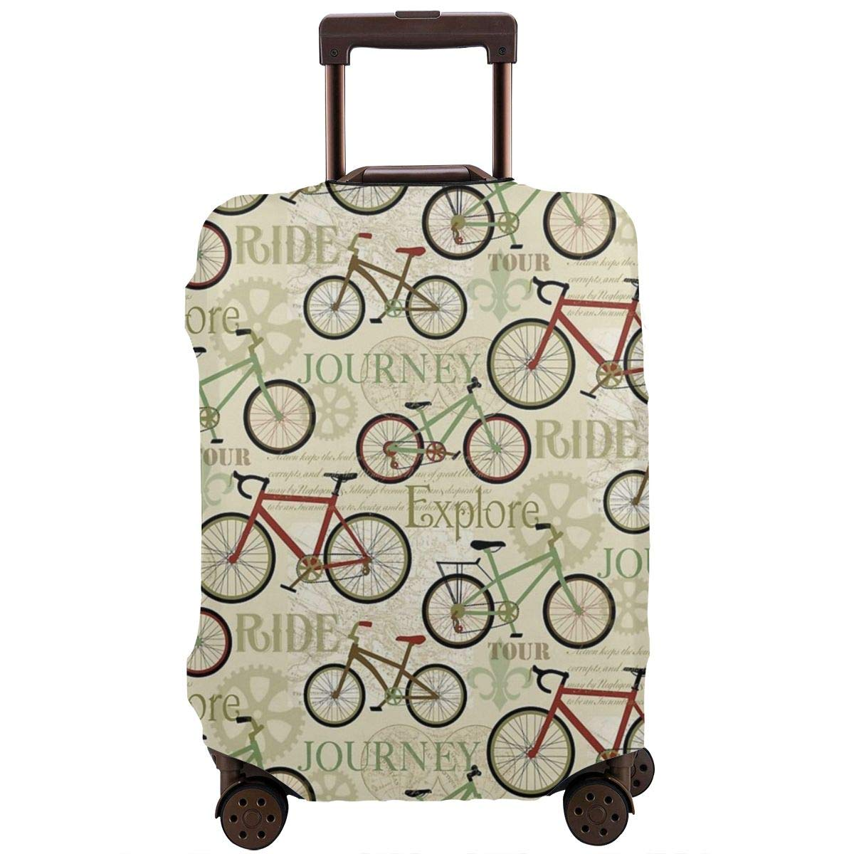 Luggage Cover Vintage Retro Bicycle Bike Journey Protective Travel Trunk Case Elastic Luggage Suitcase Protector Cover