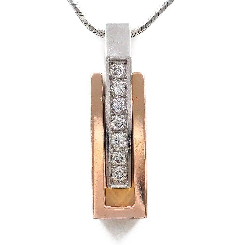 PT900 プラチナ PT850 K18PG ネックレス ダイヤ 0.10 中古ジュエリー 【中古】 B07DT9WFVH