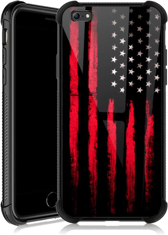 iPhone 6s Plus Case,USA Stars and Stripes Flag iPhone 6 Plus Cases for Girls,Tempered Glass Back Cover Anti Scratch Reinforced Corners Soft TPU Bumper Shockproof Case for iPhone 6/6s Plus Red Black
