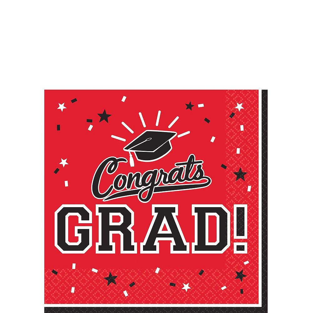 Party City Red Congrats Grad 2019 Graduation Party Supplies for 36 Guests with Banner, Tableware and Balloons by Party City (Image #4)
