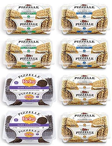 Reko Pizzelle Cookies 4 Flavor Samplers - Anise, Dark Chocolate, Caramel, Vanilla (8 Pack) by Reko