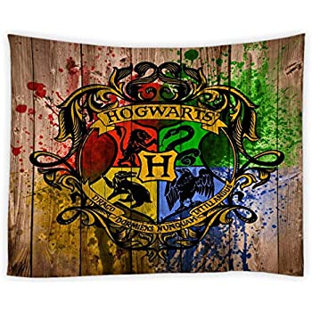 AMNYSF Hogwarts School of Witchcraft and Wizardry Logo in Harry Potter Movie Tapestry Wall Hanging Watercolor Magic College Badge Decor Tapestries for Bedroom Living Room Dorm 70x70 Inch