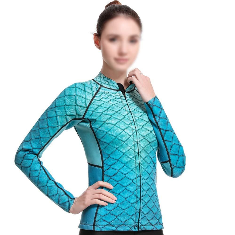 FENXIMEI Female Diving Suit Printed High-Elastic Slim Diving Suit Snorkling Gear Scuba Snorkel (Color : Green, Size : M) by FENXIMEI
