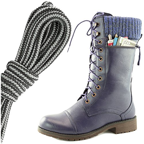 DailyShoes Womens Combat Style Lace up Ankle Bootie Round Toe Military Knit Credit Card Knife Money Wallet Pocket Boots, Black Dark Grey Purple Pu