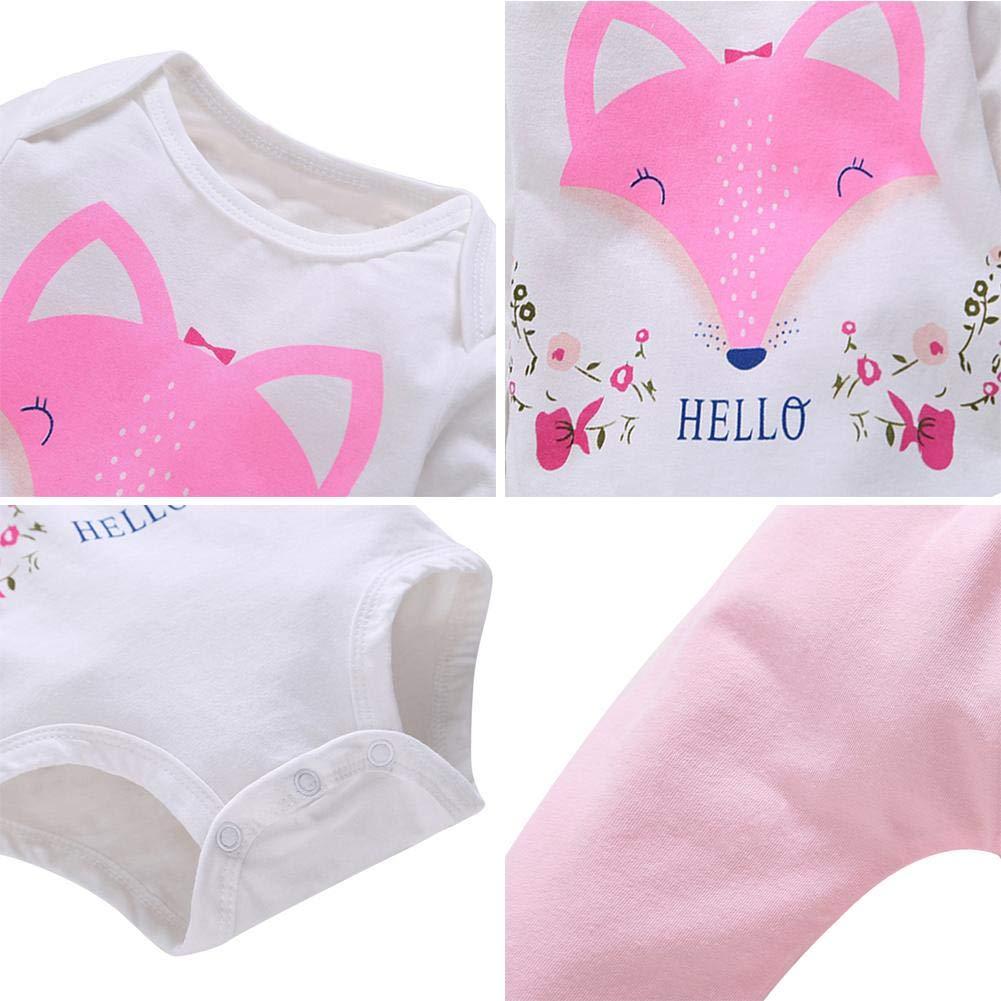 Diamondo 2pcs//Set Baby Girl Romper Fox Print Long Sleeve Pants Tops Kids Clothes