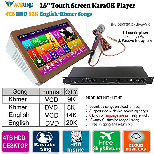 52k Players - 4TB HDD 52K Khmer/Cambodian VCD,DVD Songs,English VCD,DVD Songs Touch Screen Karaoke Player+Professional Mixer+Free Wired Microphone,Multilingual Menu, Remote Controller,