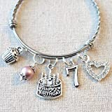 7th BIRTHDAY GIRL BRACELET, 7th Birthday Charm Bracelet, 7 Year Old Daughter Birthday Gift Idea, Girls Seventh Birthday Gift, 7 Year Old Girl Birthday Bracelet