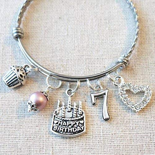 7th BIRTHDAY GIRL BRACELET Birthday Charm Bracelet 7 Year Old Daughter Gift Idea Girls Seventh Girl