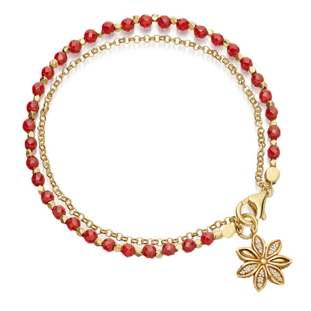 Red Infgreate ➤✎✎✎Stylish gift Women Vintage Bohemia Double Layer Beads Flower Charm Bracelet Bangle Jewelry