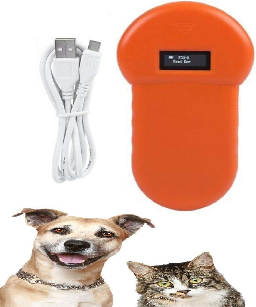 VISLONE Lector para Mascotas, LF 134.2KHz Lector de Microchip para Perros Lector de chips de animales de mano para perro Gato, Caballo Pantalla OLED, USB recargable y zumbador incorporado