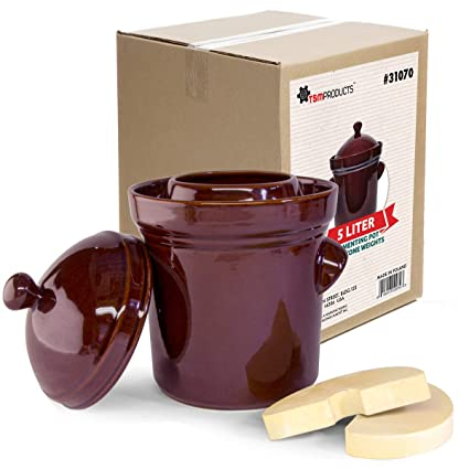 Amazon com: TSM Products Polish Fermenting Crock with Stone Weights