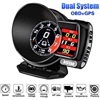 Car Head Up Display,ACECAR Car Universal Multifunction Dual System HUD 6 Modes HD LCD Retrofit Diagnostic Tool Digital Speedometer Test Brake Fault Scan Code Reader Overspeed & Water Temperature Alarm