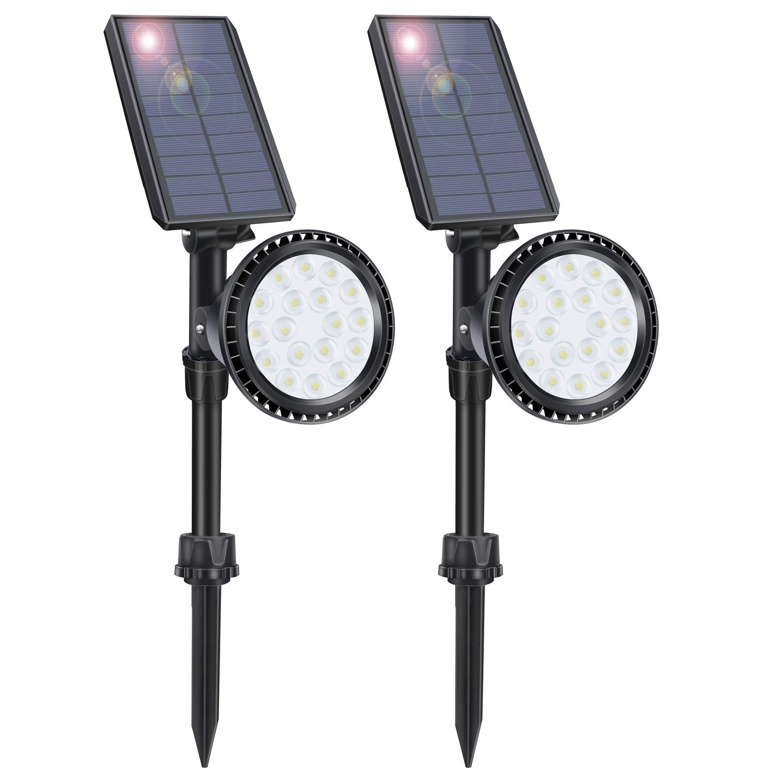 LITSPOT Solar Landscape Lights, 18 LED Solar Spotlights Outdoor Waterproof Solar Spot Lights Outdoor Dusk to Dawn for Trees House Yard Garden Driveway Flag Pole Pool Walkway 2 Pack (Cold White)