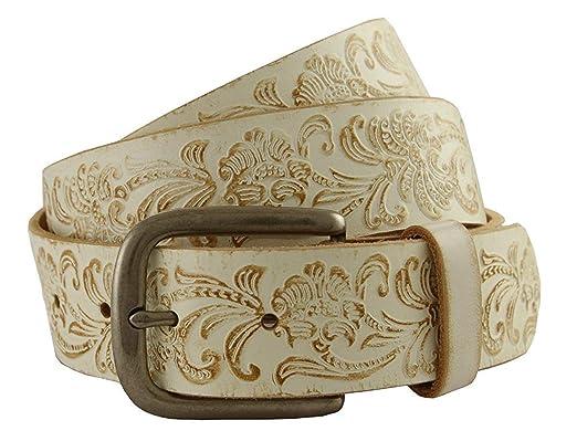1dd34bcd525d Avnet Ceinture Homme En Cuir Gravé Véritable Western 38mm Et Boucle En Métal,  Blanc 80