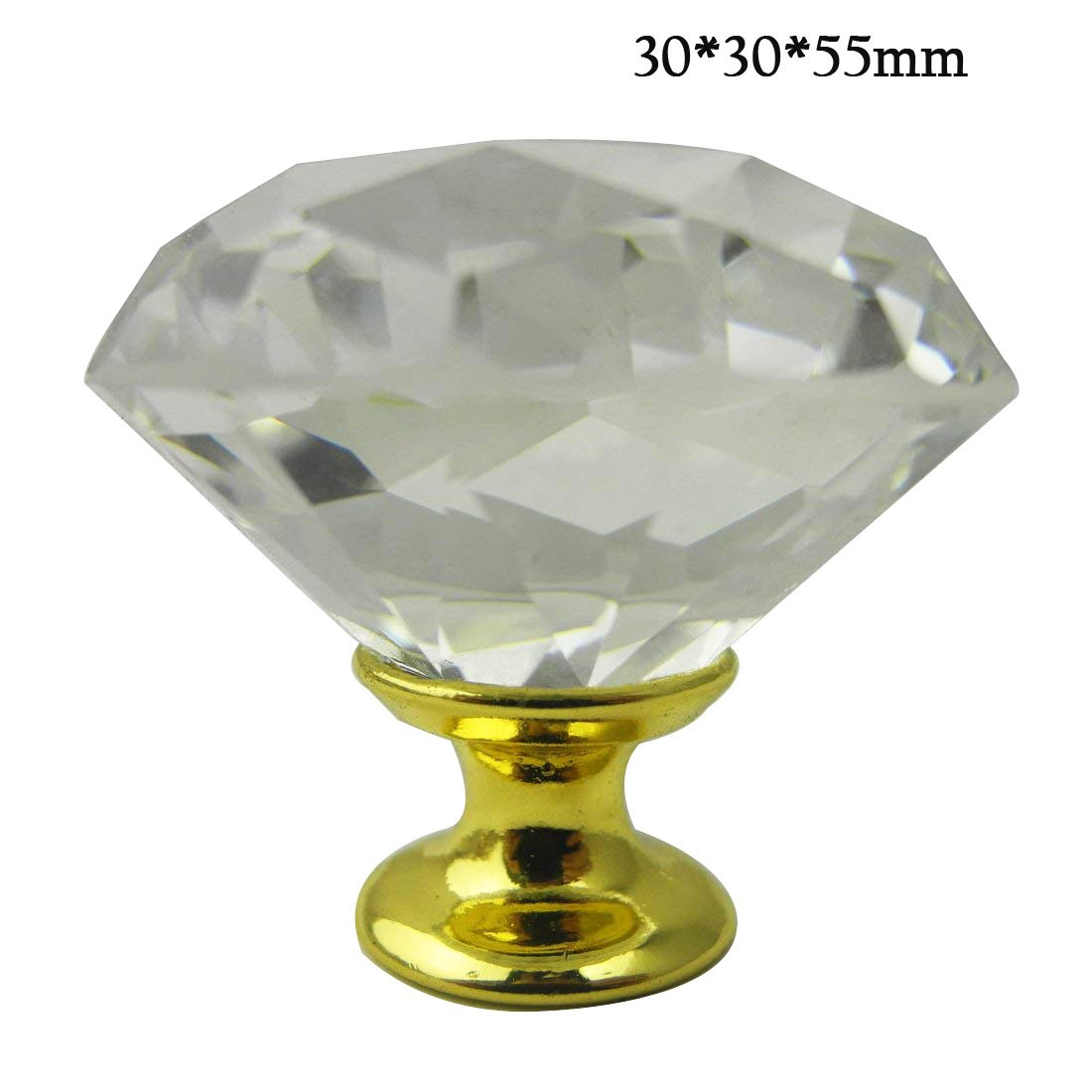 Calcifer 12pcs Diamond Shape Crystal Glass Drawer Knob Pull Handle Usd for Caebinet, Drawer,Door, Wardrobe (30 * 30 * 55mm)