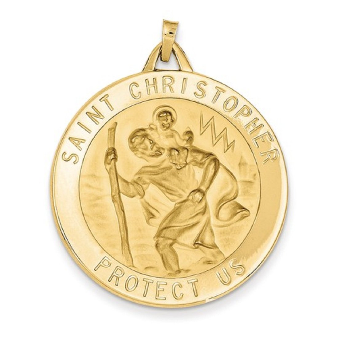 Roxx Fine Jewelry St. Christopher Medal 14K Yellow Gold Large 43 x 33mm M1488