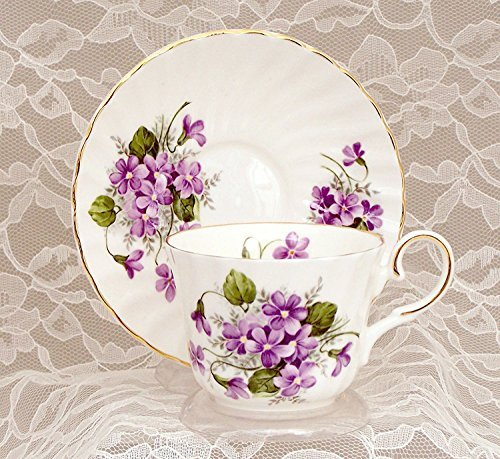WILD VIOLETS Fine English Bone China Cup and Saucer ()