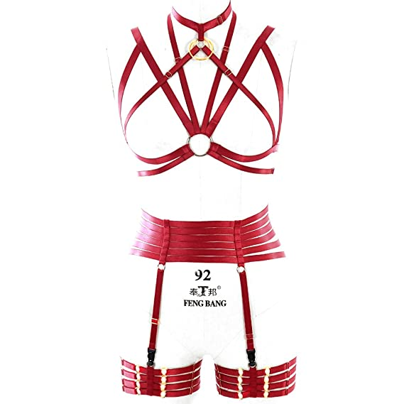 7a1db20e366 PETMHS Womens Sexy Body Harness Lingerie Set Wine red Elastic Cage Harness  Garter Belt  Amazon.co.uk  Clothing