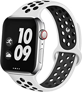 EXCHAR Sport Band Compatible With Apple Watch Band 44mm Series 5/4 Breathable Soft Silicone Replacement Wristband Women And Men For iWatch 42mm Series 3/2/1 Nike+ All Various Styles M/L Platinum black